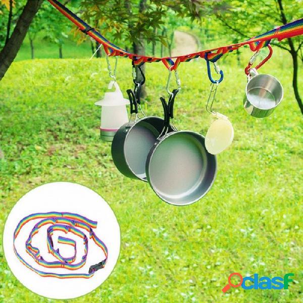 Producto al aire libre coloridas carpas acollador + bolsa de almacenamiento camping tendedero colgando cuerda decorativa gadgets al aire libre rojo