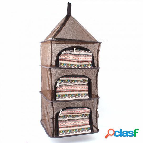 Red de rack de secado plegable al aire libre, cesta de almacenamiento de cuatro capas, vajilla de verduras de frutas colgando jaula negro
