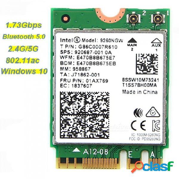 Tarjeta de red inalámbrica wifi de 1.73 gbps para intel 9260 ca 2.4 g / 5 ghz ngff 802.11ac blietooth 5.0 para portátiles con windows 10 blanco