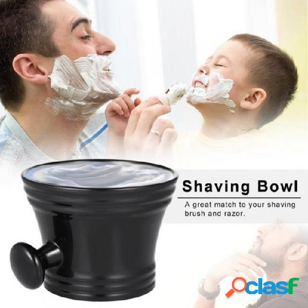 Taza de afeitar para hombre taza con mango taza de jabón taza taza para afeitar cepillo de plástico taza de limpieza de cara masculina taza taza herramientas para cepillo de afeitar negro