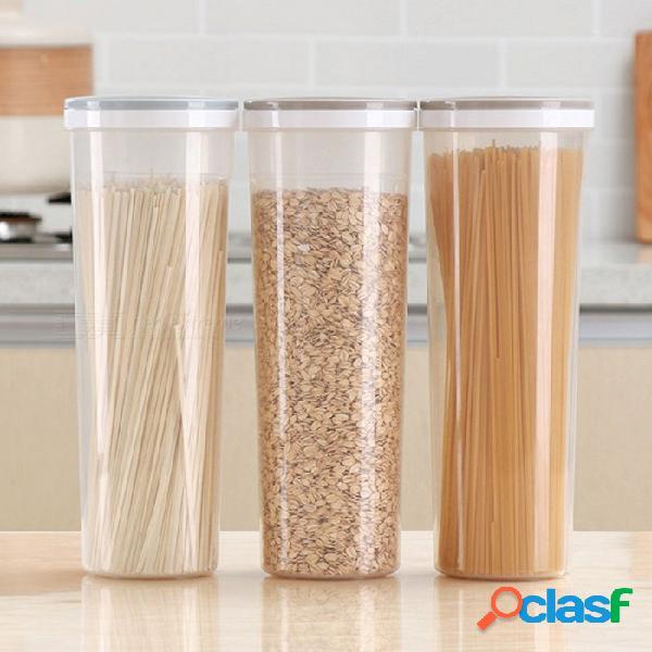 Caja de contenedor sellado para la conservación de alimentos contenedor de almacenamiento de fideos de grano de cereal de plástico de cocina redonda - gris + transparente
