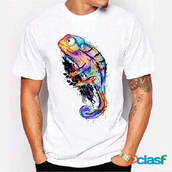 Nueva camiseta estampada de camaleón de moda para hombre verano diseño fresco tops camisetas de algodón de manga corta personalizadas blanco