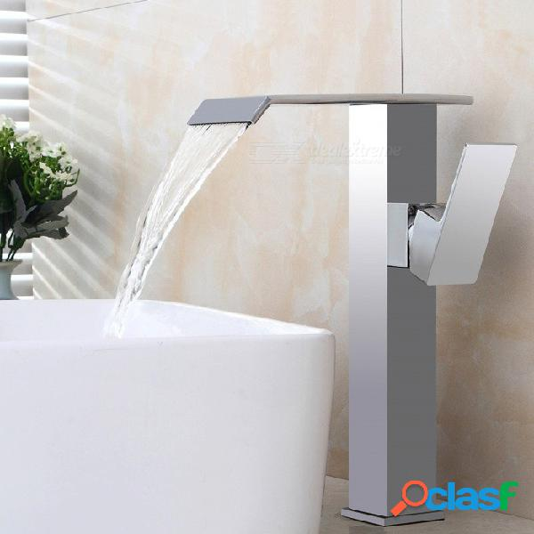 Tapa de cascada de latón montada válvula de cerámica un agujero cromo, grifo del fregadero del baño w / single handle