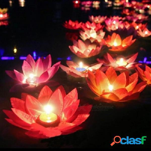 Loto de seda multicolor linterna luz con velas decoraciones de la piscina flotante que deseen la lámpara de cumpleaños decoración del banquete de boda 10pcs color al azar