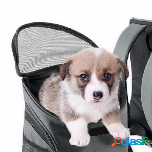 Mochila exterior portátil doble bolsa de perro bolsa de hombro mochilas bolsa de transporte bolsas de poliéster durable transpirable gris cómodo
