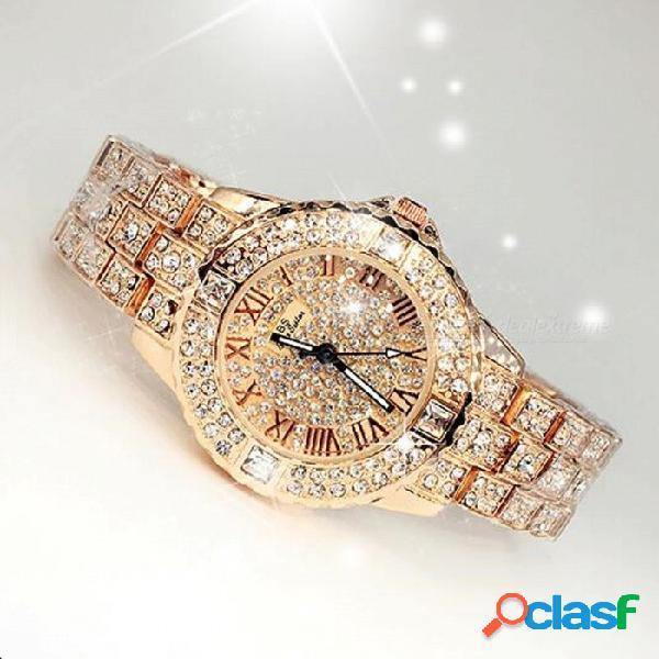 Moda chic cristal de diamantes de imitación reloj de mujer de las mujeres reloj de vestir, pulsera de lujo de diamantes de cuarzo reloj de pulsera de oro amarillo