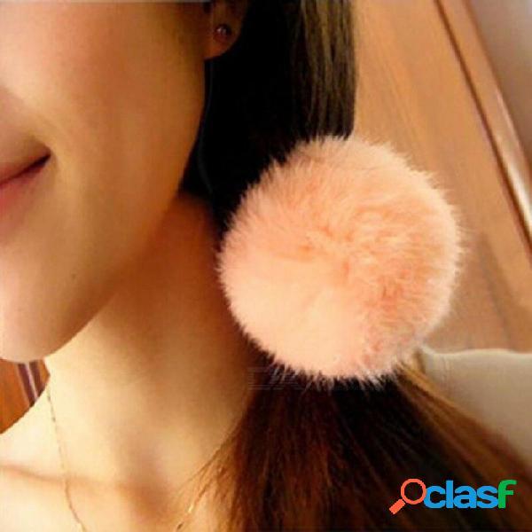 Muchachas del estilo coreano lindo de moda suave piel de conejo falsa cuerda elástica del pelo banda de pelo accesorios para el cabello de dos colores opcionales