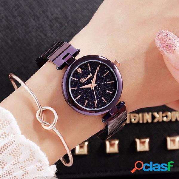Reloj de cristal de lujo de las mujeres reloj de pulsera de mujer regalo de moda relojes de oro rosa reloj de pulsera de color púrpura mujer púrpura