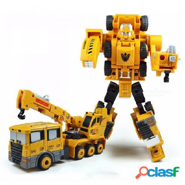 Transformación robot coche máquina de elevación aleación de zinc ingeniería construcción vehículo 2 en 1 montaje deformación juguete para niños