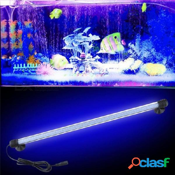 48 cm acuario luz decoración led luz sumergible subacuática 57 led lámpara impermeable para tanque de peces piscina luz blanca enchufe de la ue