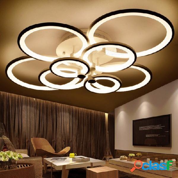 Candelabros acabados en forma de anillo, luz de lámpara de techo moderna colgante de círculo de led para iluminación interior de sala de estar 8 anillos 90w