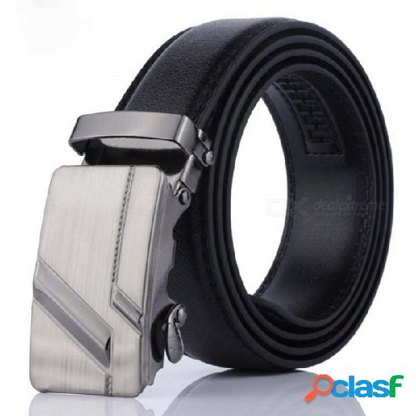 Cinturones de hebilla automática de los hombres de cuero de la pu prácticos cinturones de hombre de negocios cinturones de marca masculina popular clásico negro 115 cm / 002