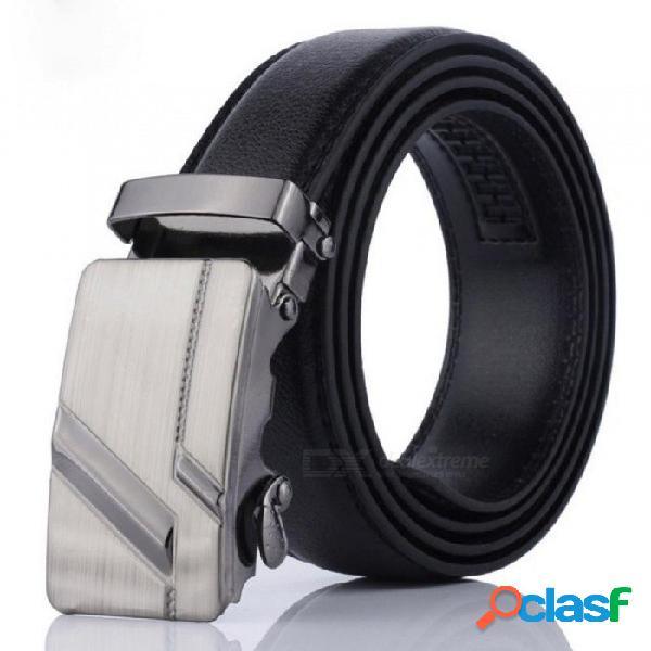 Cinturones de hebilla automáticos de hombres de cuero de pu cuero de hombre de negocios práctico clásico popular marca masculina cinturones negro 120 cm / 002
