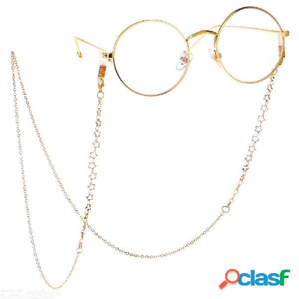 Cordón de cadena de gafas de sol de 75 cm con cordón y cadena de metal. cordón de cadena para gafas.