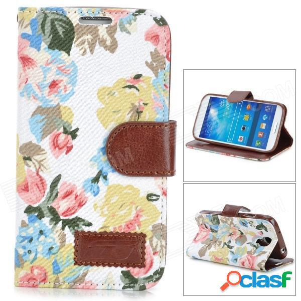 Modelo floral de moda tapa abatible de la pu w / holder + slot de tarjeta para samsung s4 - multicolor