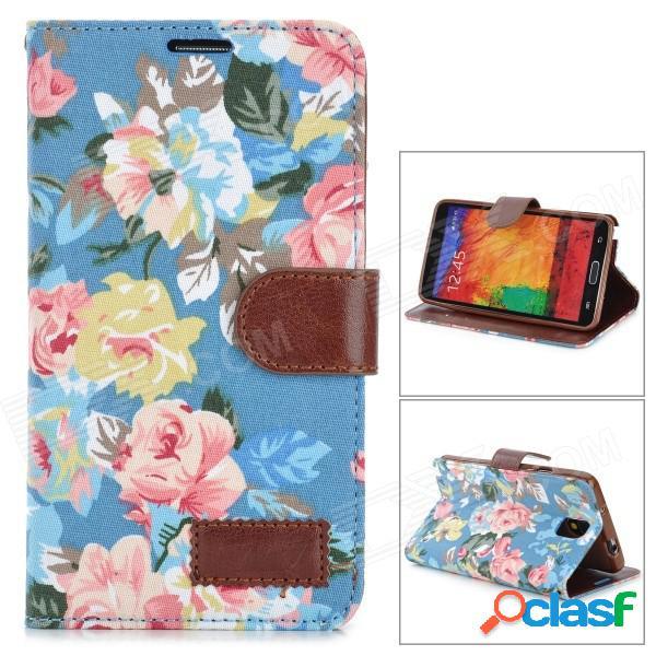 Modelo floral de moda tapa abatible de la pu w / holder + slot de tarjeta para samsung note 3 - multicolor
