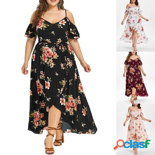 Vestido de talla grande de verano con estampado floral correa de espagueti medias mangas vestidos de playa para mujeres