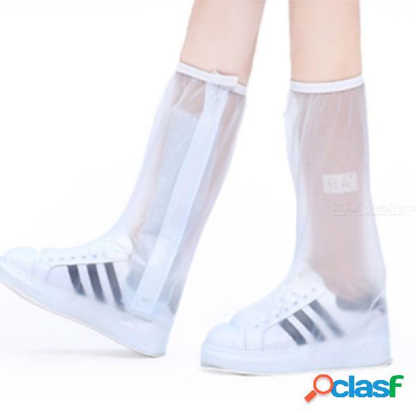 1 par de lluvia impermeable zapatos reutilizables cubre botas de lluvia con cremallera antideslizante zapatillas zapatos accesorios