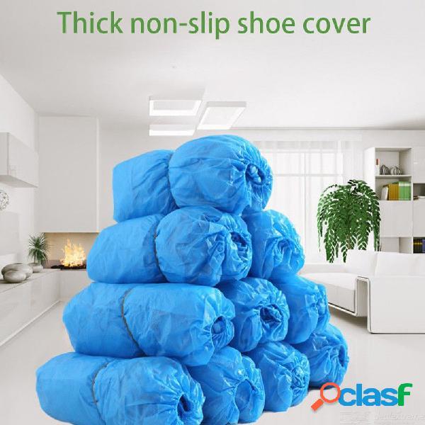 100 unidades / bolsa impermeable espesan cubiertas de botas de plástico desechables cubiertas de zapatos de lluvia - azul