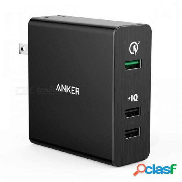 Anker carga rápida 3.0 42w cargador de pared usb de 3 puertos, puerto de energía + 3 para galaxy y poweriq para iphone ipad lg nexus htc etc.