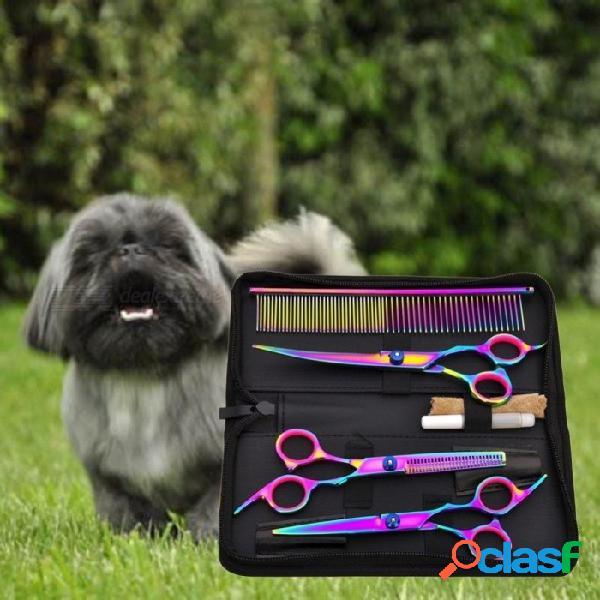 Corte de pelo del animal doméstico colorido tijeras podadoras corte de dientes plano mascotas herramientas de belleza conjunto kit perros preparación corte del pelo conjunto de tijera multi