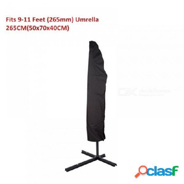 Patio al aire libre 7-13 'cubierta del paraguas de compensación impermeable para jardín al aire libre plátano paraguas sombrilla con cremallera 205 cm negro