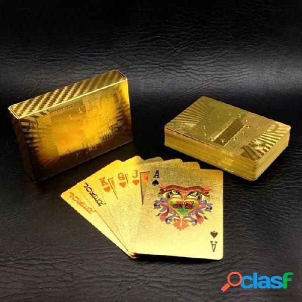 Una baraja lámina de oro estilo de póquer de plástico estilo póker de cartas de naipes tarjetas impermeables buen precio juego de mesa de juego gyh dorado