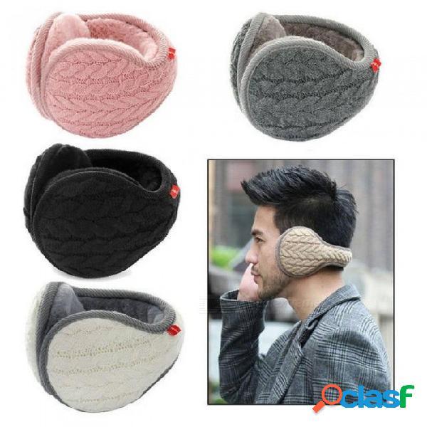 Unisex plegable orejeras de punto de moda invierno cálido más orejeras de terciopelo las mujeres hombres orejeras de punto orejeras de punto adulto orejeras negro