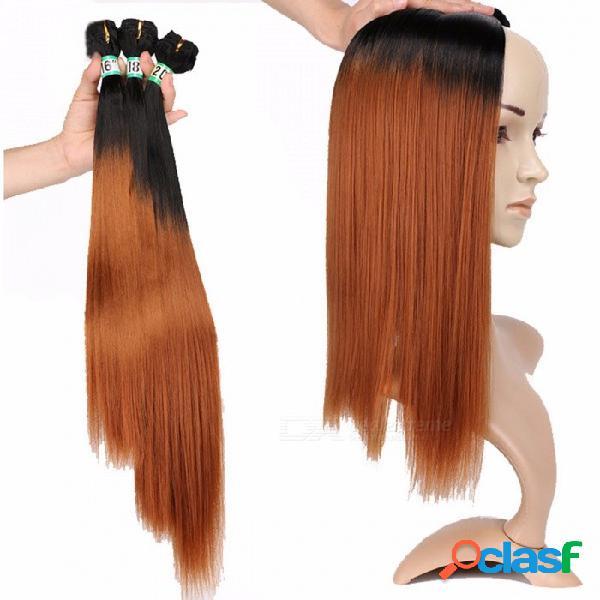 Paquetes de pelo lacio sintético extensiones de cabello 100% de alta temperatura fibras fsr-stw 3 t1 / 30 3 paquetes conjunto t1 / 30/16 pulgadas