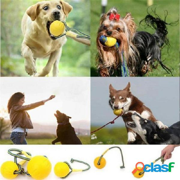 Pelota de goma sólida indestructible del juguete del entrenamiento del perro de animal doméstico, juguete masticable del mordisco del juego del masticar con la cuerda del portador