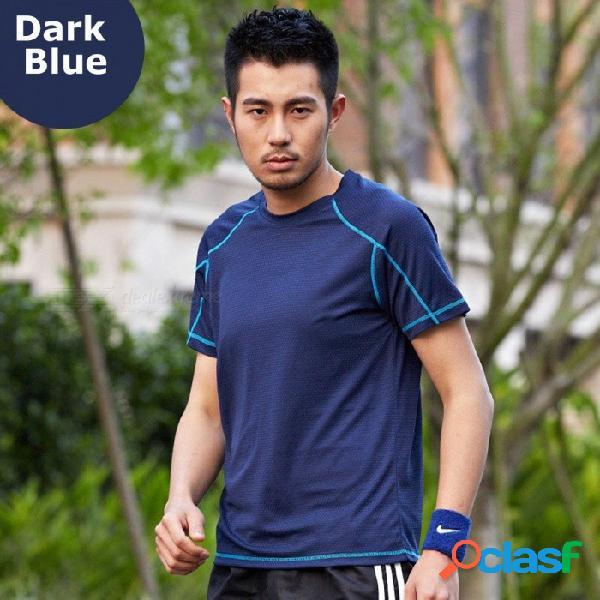 Camiseta de manga corta de algodón o-cuello de verano para hombres, deportes al aire libre con camiseta de fitness de secado rápido azul / m
