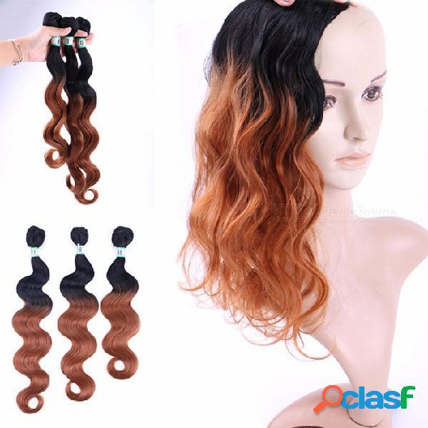 Conjuntos de cabello ondulado 100% de alta temperatura fibra cabello extensiones cuerpo onda t1b / 30 3 paquetes conjunto t1b / 30/16 pulgadas