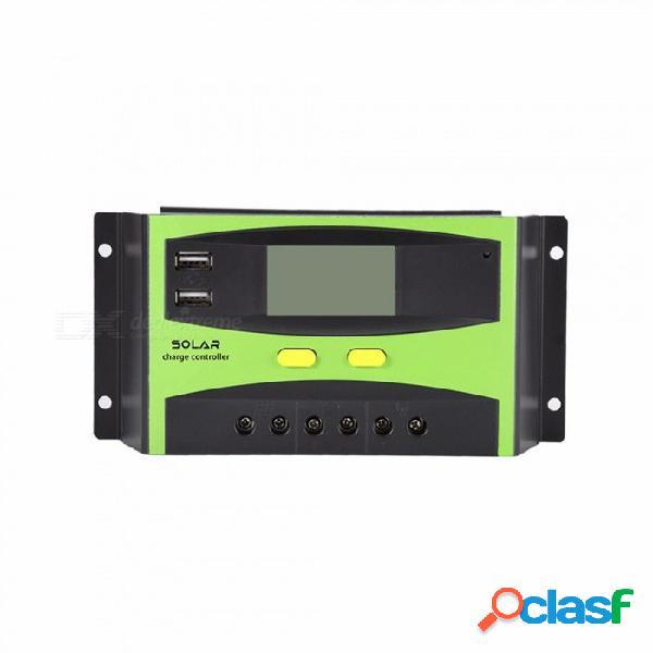 Controlador de carga solar de trabajo automático 30a 12v 24v pwm con pantalla lcd, cargador de panel de doble celda solar usb negro
