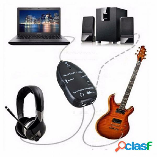 Enlace de guitarra plug and play fácil, duradero, mini portátil a cable de interfaz usb para pc y grabación de video
