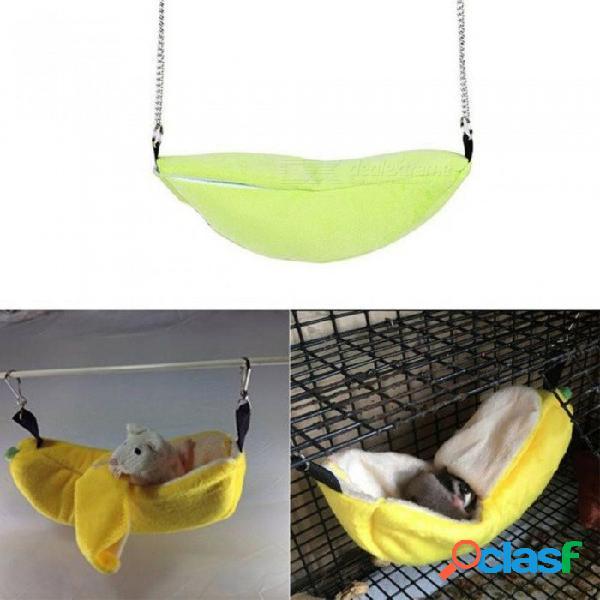 Hámster de diseño en forma de plátano que cuelga de la casa jaula de hamacas, cama para mascotas rata hamster juguete dormir nido columpio para animales pequeños