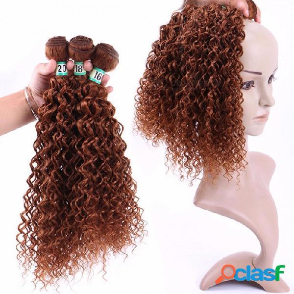 Jerry curl hair bundles 100% fibras de alta temperatura extensiones de cabello jettycurl 30 # 3 bundles set # 30/16 inches