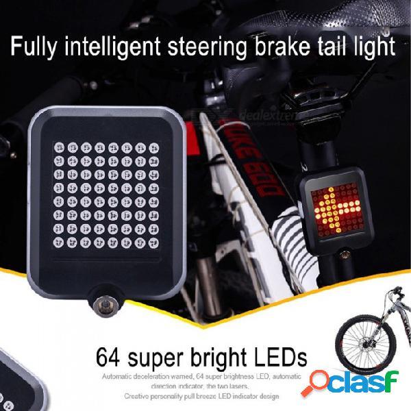 Luz de freno de dirección inteligente de 64 led, luz de noche de la luz trasera de la bicicleta de seguridad, luz trasera de carga usb negra