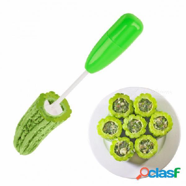4 unids / set diferente tamaño vegetal cortador de espiral spiralizer carne relleno herramienta plástico tomate berenjena cortador herramienta verde