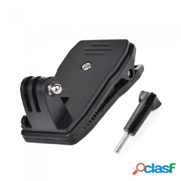 Cámara de deportes xsuni 360 grados rotación rápida mochila clip abrazadera de montaje para gopro - negro