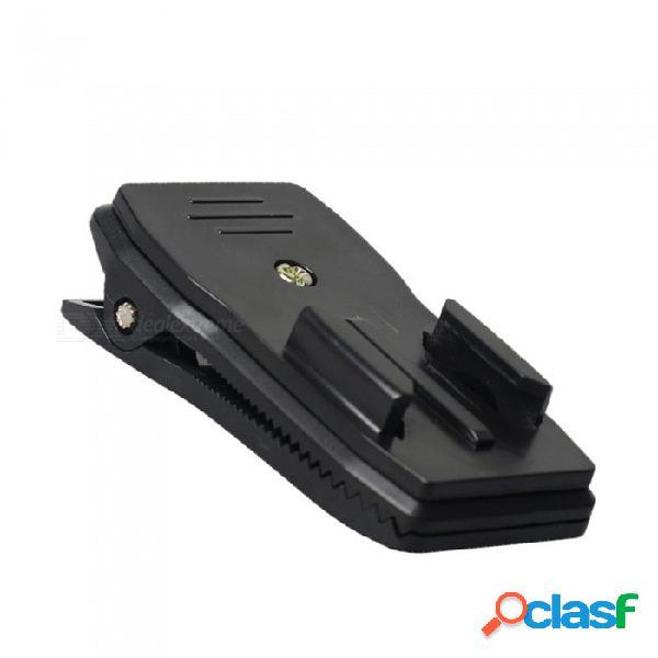 Cámara de deportes xsuni 360 grados titular de soporte giratorio clip de liberación rápida para gopro, sjcam - negro