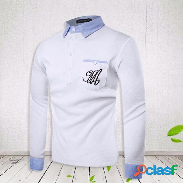 Camisa de manga larga con cuello redondo bordado con bolsillo camisa con cuello doblado para hombres blanco / m