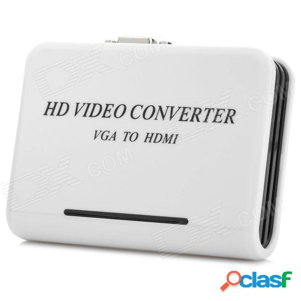 Convertidor de av de alta definición de 1080p vga a hdmi con entrada de audio - blanco + negro (enchufe de la ue)