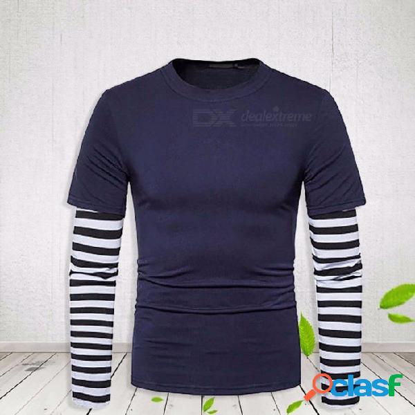 Cuello redondo costura rayada delgada remiendo t camisa de los hombres nueva moda casual camisas de manga larga para las mujeres negro / m
