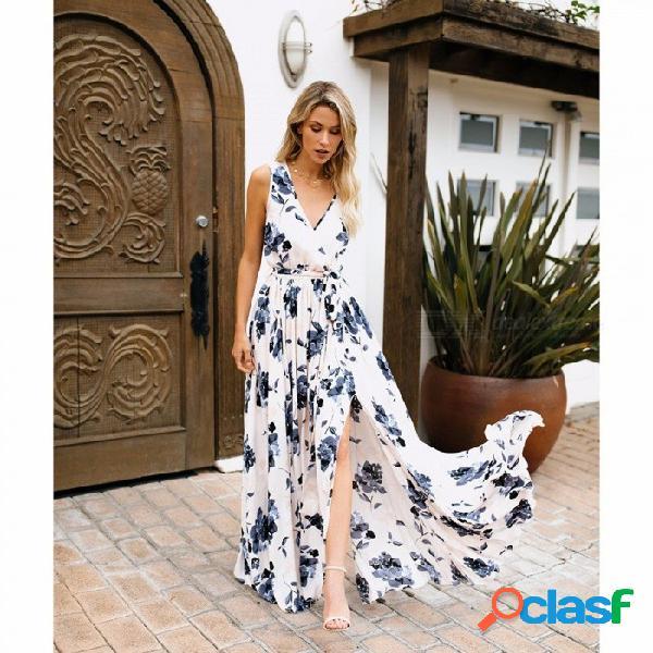 Estilo de las mujeres vestido de estampado floral estilo bohemia señoras de la moda del partido vestido de playa blanco / s