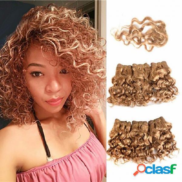 Miel brasileña rubia pelo rizado afro onda rizada paquetes de cabello con cierre extensiones de cabello humano corto 7 piezas set # 27