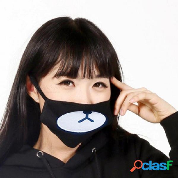 Moda negro algodón antipolvo lindo oso máscaras anime dibujos animados kpop afortunado oso mujeres hombres muda cara máscaras de la boca oso