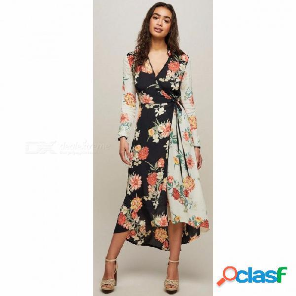 Vestido de la impresión floral del estilo de bohemia de la manera vestido elegante de la playa de las señoras del vestido de la playa de las mujeres multi / s