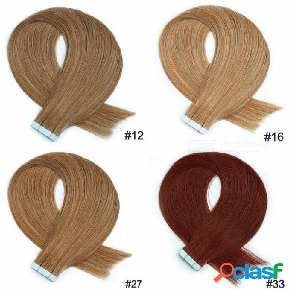 20 piezas / 18 pulgadas de cinta lisa y recta en extensiones de cabello humano para mujeres 40 g / set # 12/18 pulgadas / 20 pcs
