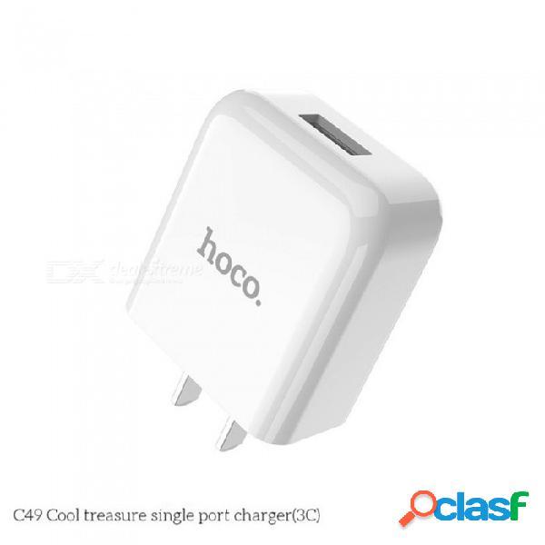 Adaptador de corriente usb de carga rápida hoco c49 universal 5v 2a, cargador de viaje para teléfonos móviles con android iphone blanco / manzana