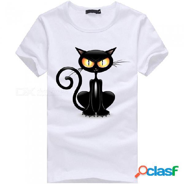 Camiseta de hombre de manga corta de algodón casual personalidad de moda de algodón 3d de manga corta - blanco (m)